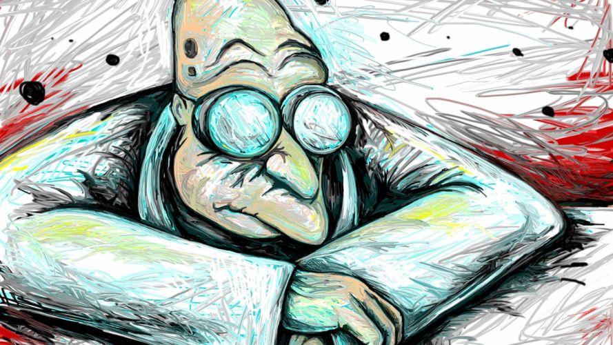 Futurama sci fi science humor funny comedy glasses children kids wallpaper