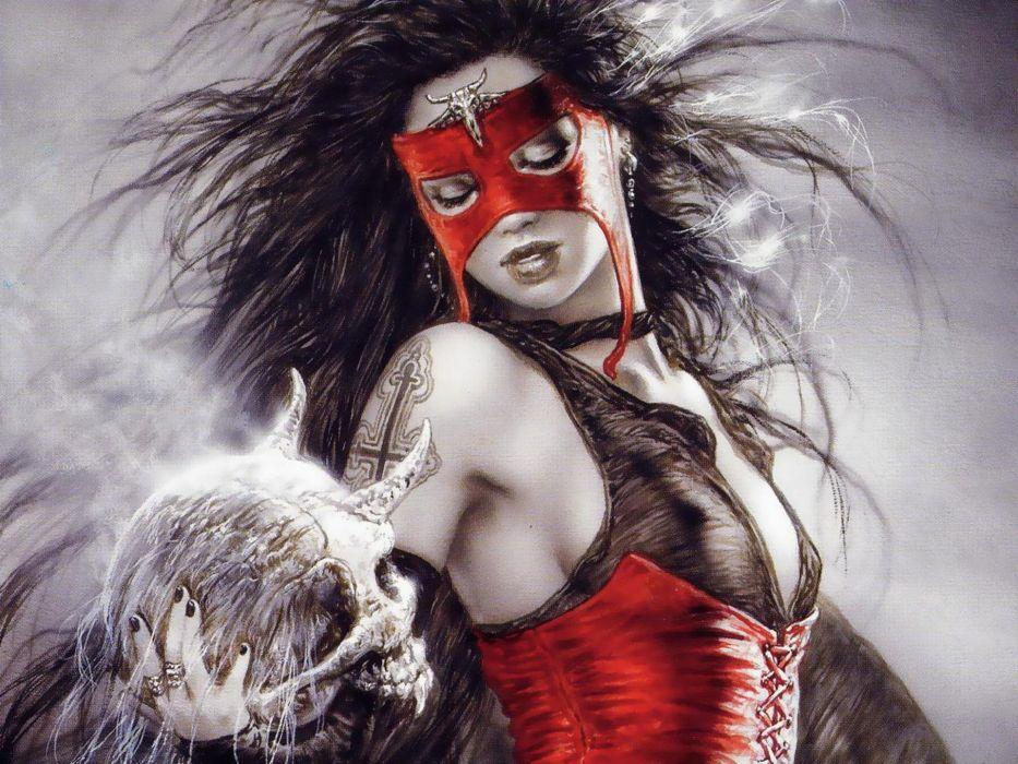 Luis Royo fantasy women gothic mask fantasy wallpaper