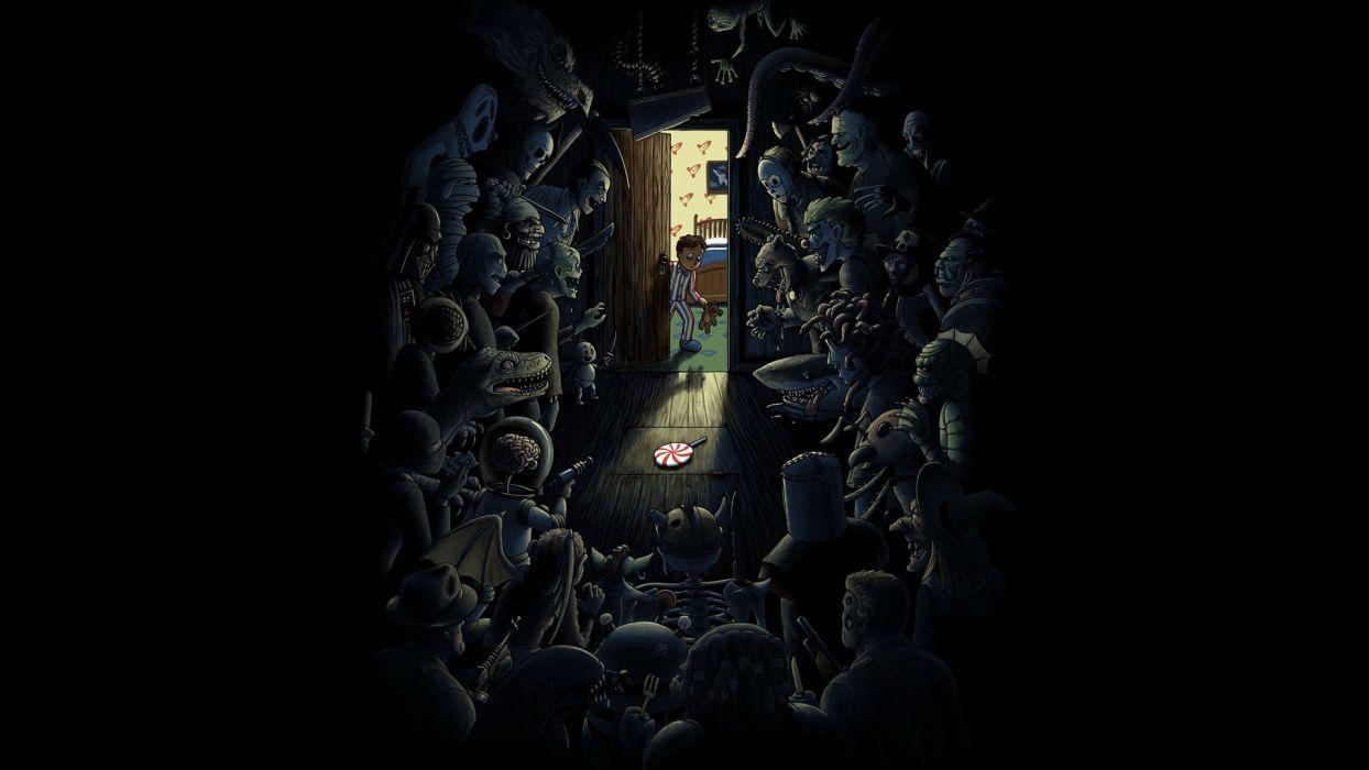 dark horror scary spooky creepy monsyers wallpaper
