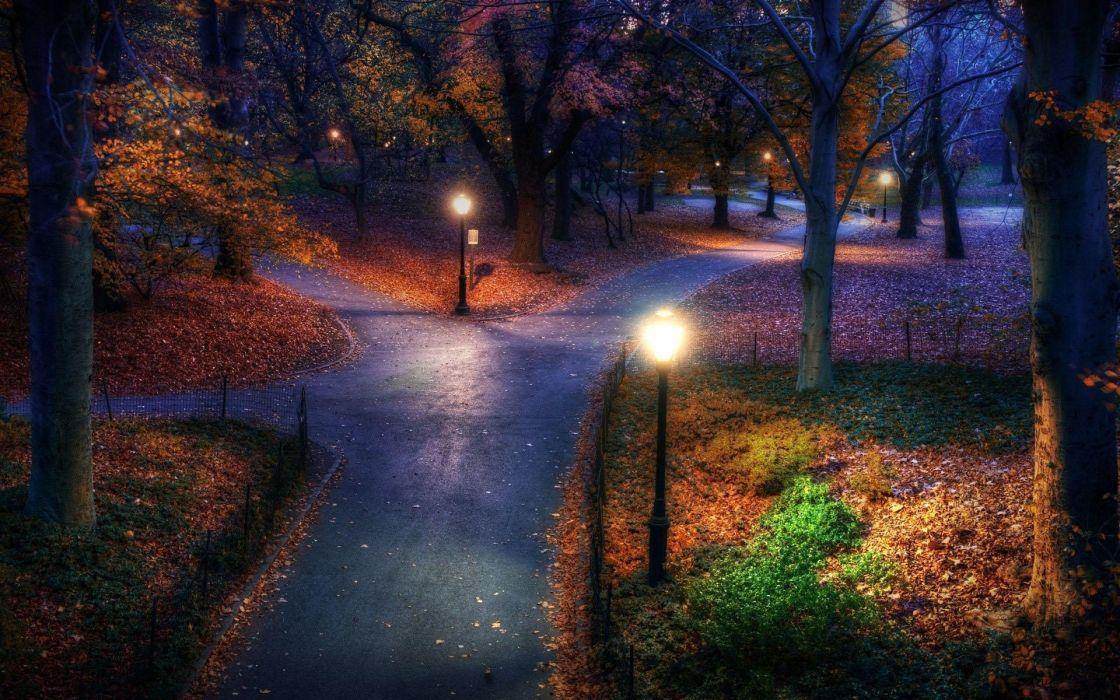 park garden autumn fall trees lamp roads wallpaper