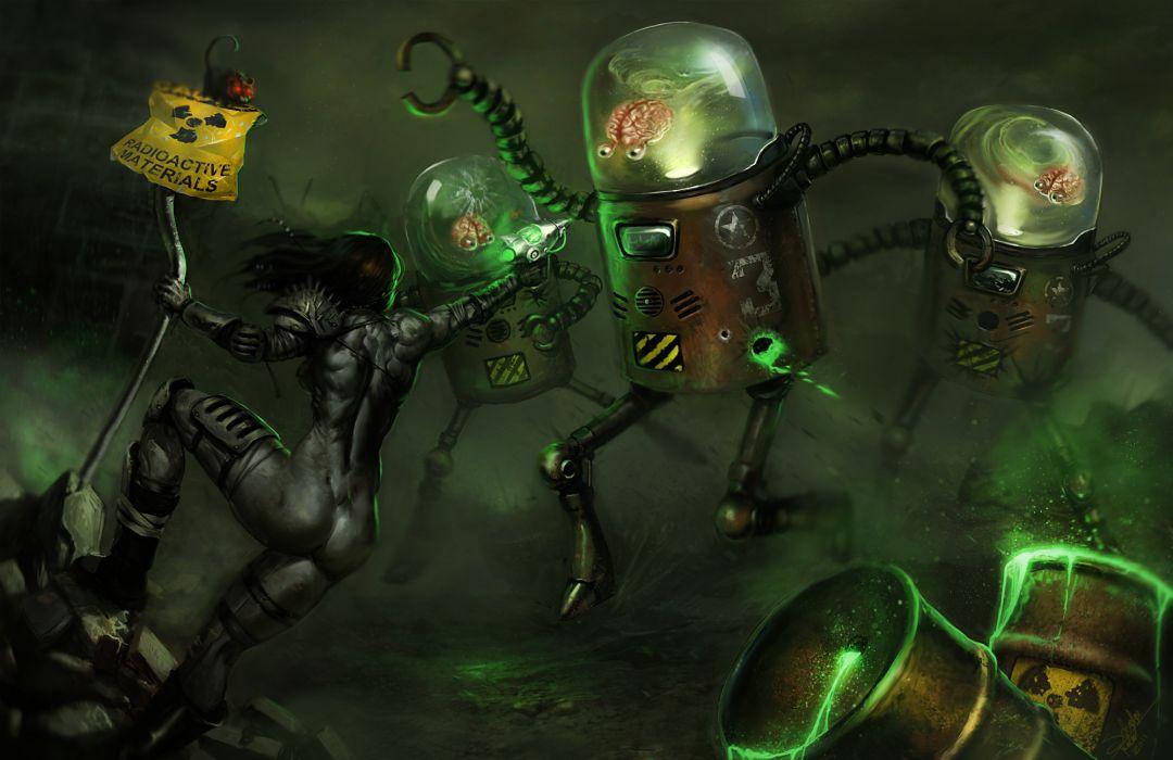 dark sci fi alien battle robot wallpaper