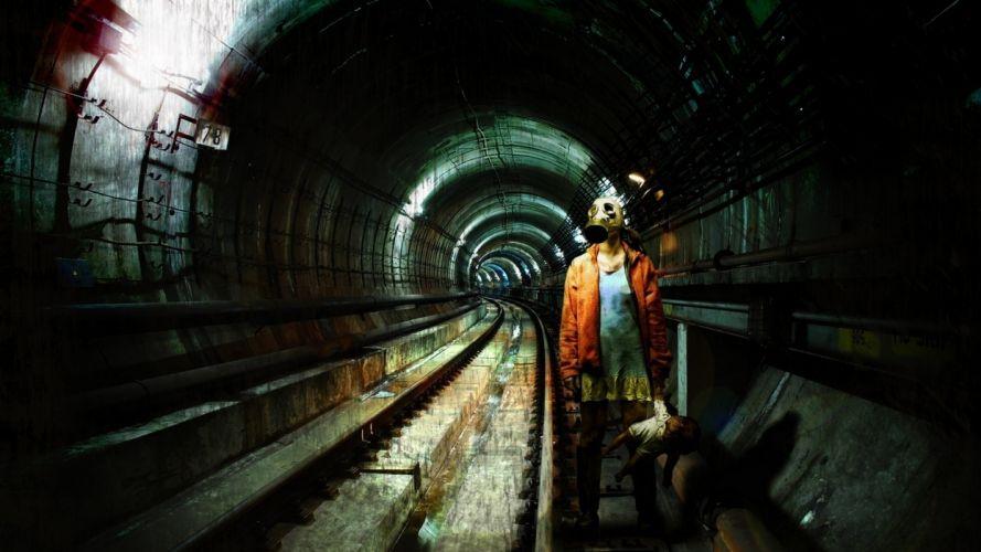 dark gothic mask gas tunnel subway train teddy horror creepy spooky wallpaper