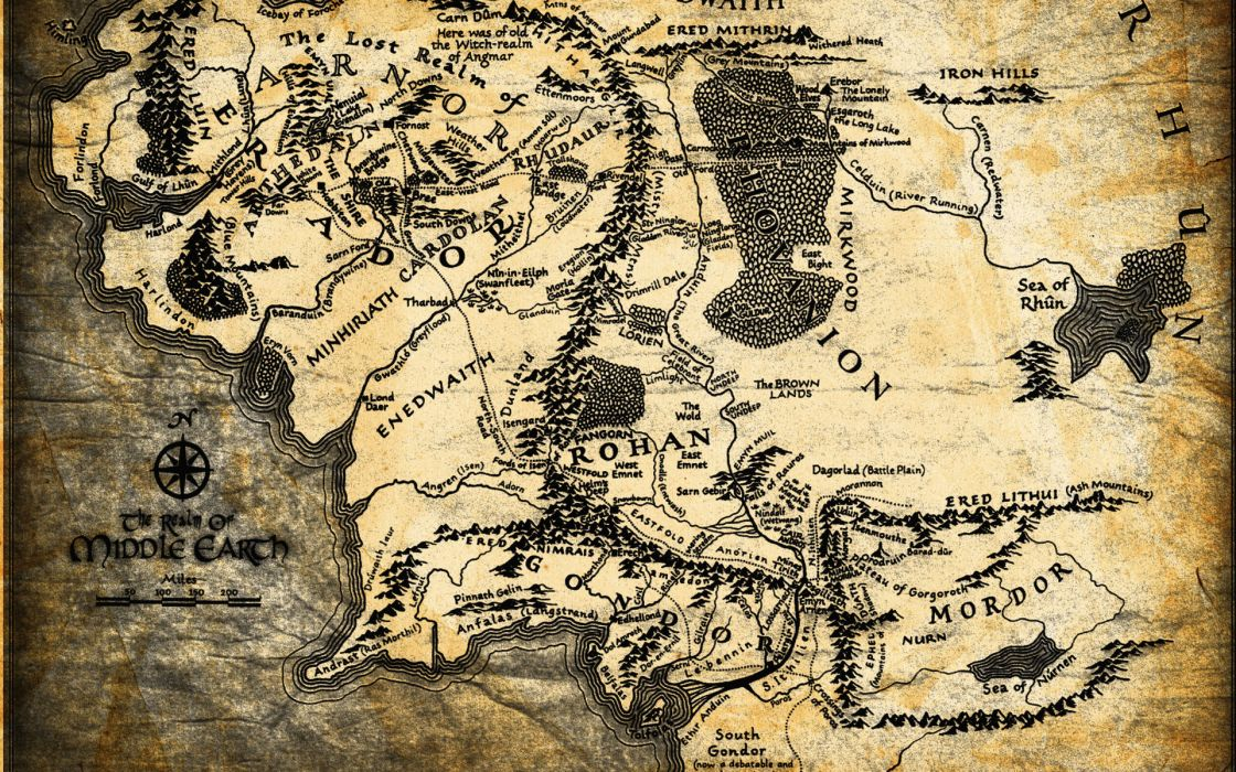 The Lord of the Rings fantasy map lotr wallpaper