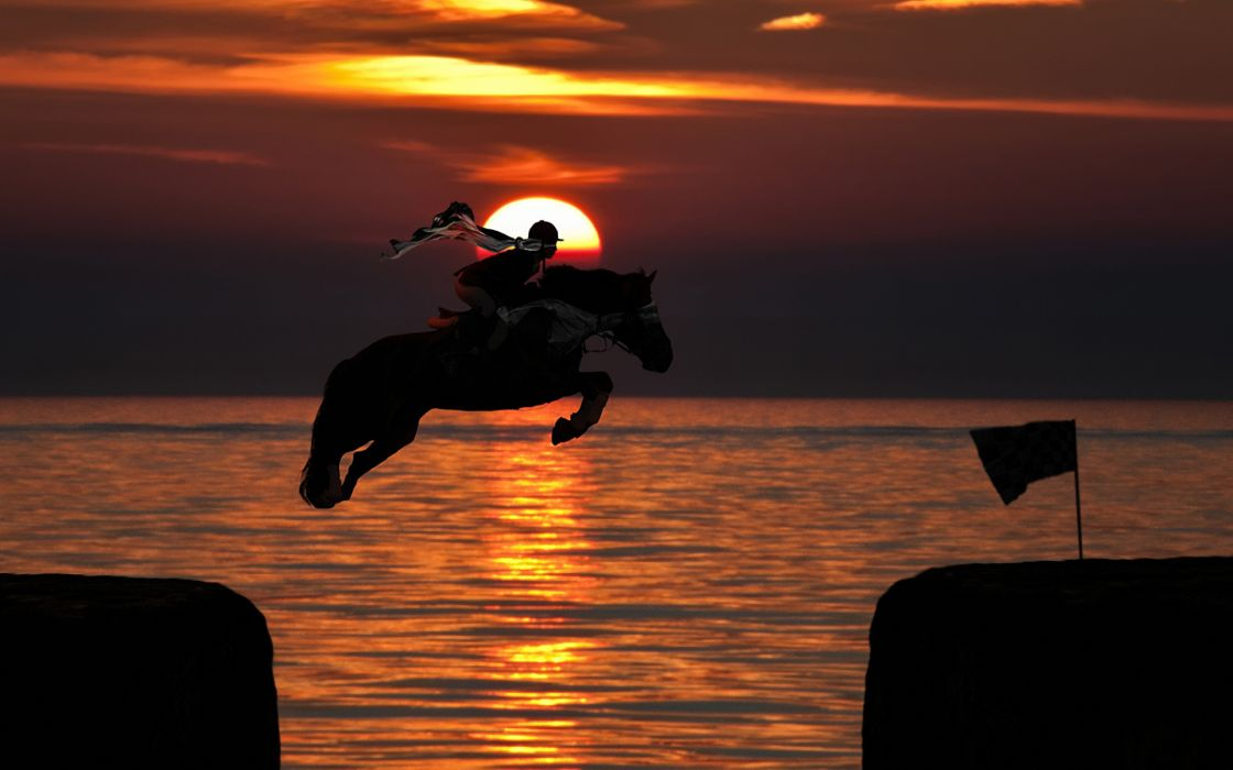 horses people sunset sunrise ocean sea wallpaper