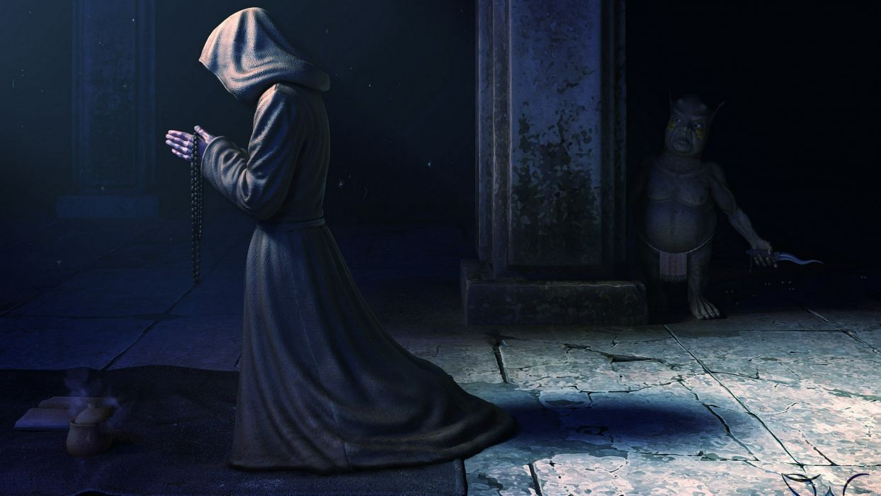 fantasy monk robe dark people religion monster creature weapon knife wallpaper
