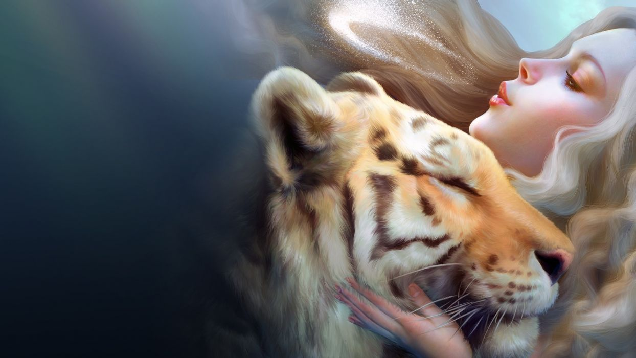 Fantasy animal cg digital art tiger women love mood wallpaper fantasy animal cg digital art tiger women love mood wallpaper thecheapjerseys Gallery