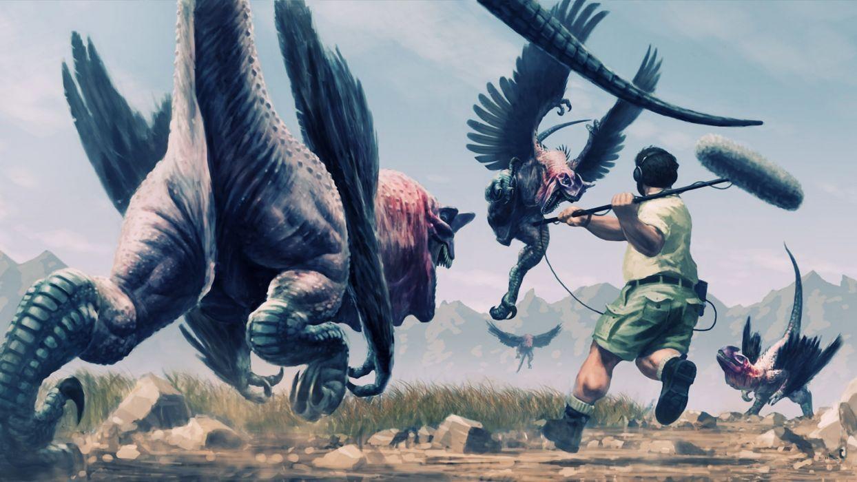 Dinosaurs fantasy humor gryphon dragon people wallpaper