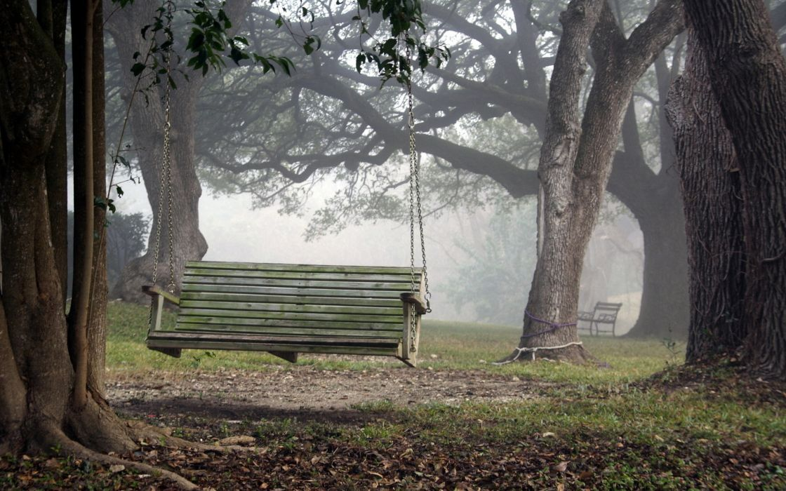 Tremendous Mood Landscapes Swing Bench Chair Fog Wallpaper 1920X1200 Inzonedesignstudio Interior Chair Design Inzonedesignstudiocom