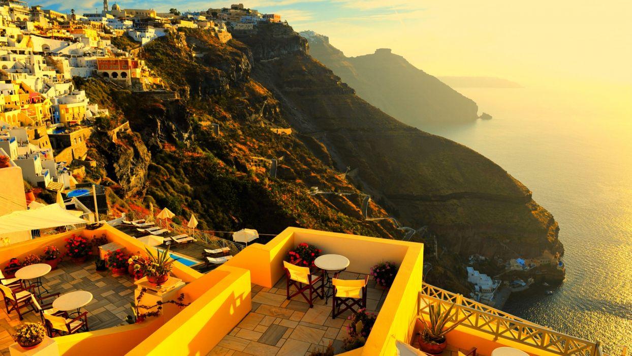 cliff mountain place buildings scenic ocean sea wallpaper