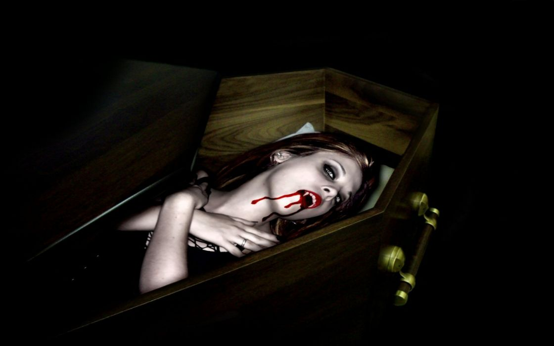 cg digital art vampire dark women fangs blood wallpaper