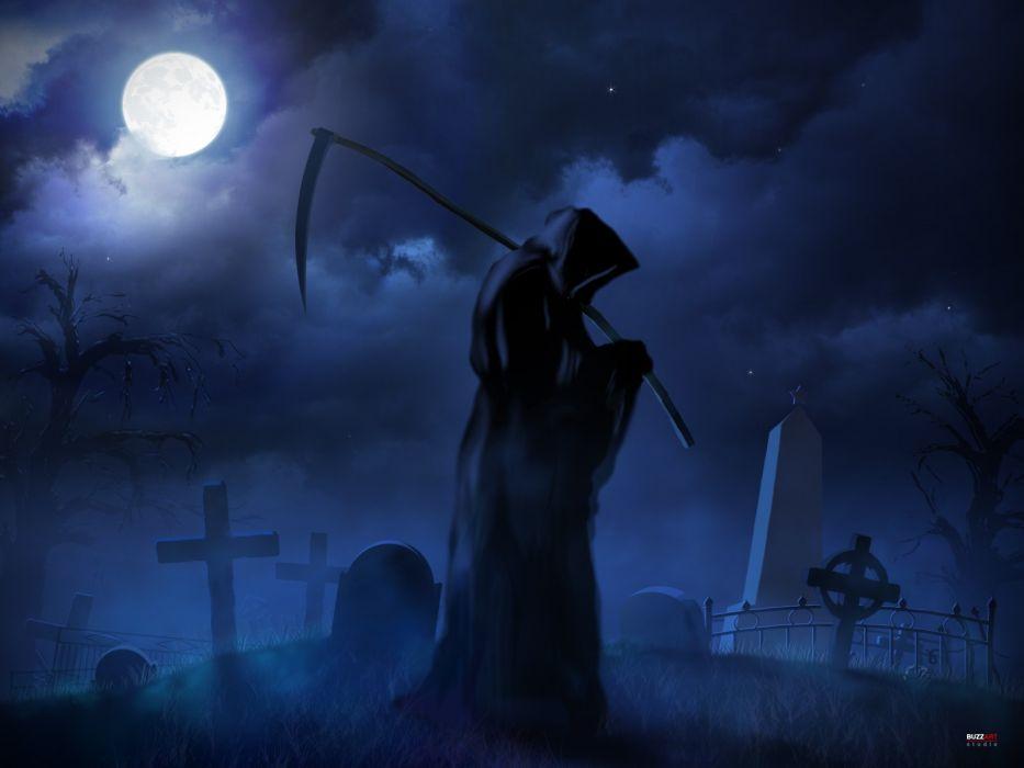 dark fantasy reaper cross weapon scythe cemetery grave wallpaper