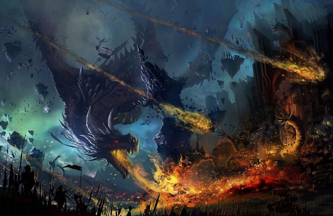 fantasy dragon battle wallpaper