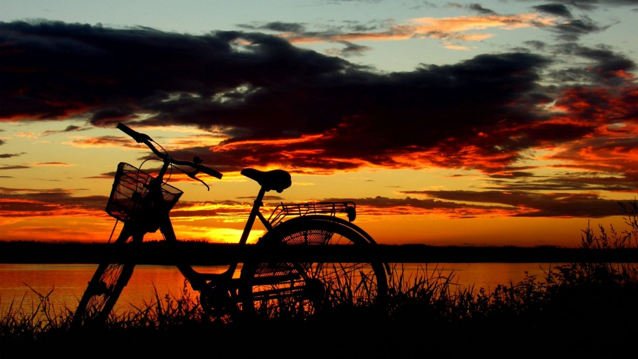 bicycle sunset sunrise sky clouds wallpaper
