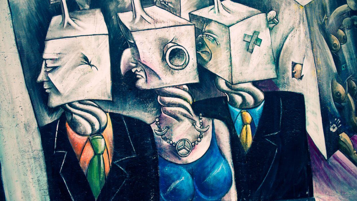 graffiti urban dark art psychedelic wallpaper