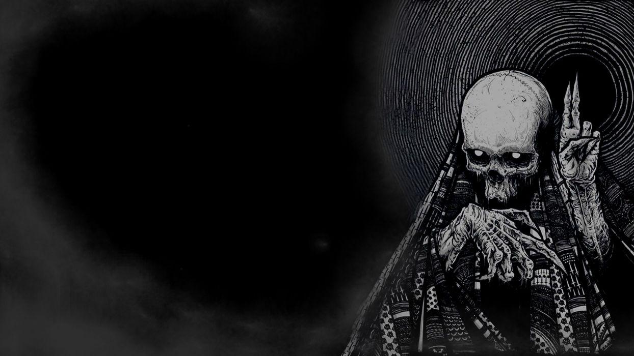 dark horror skeleton skull occult evil wallpaper