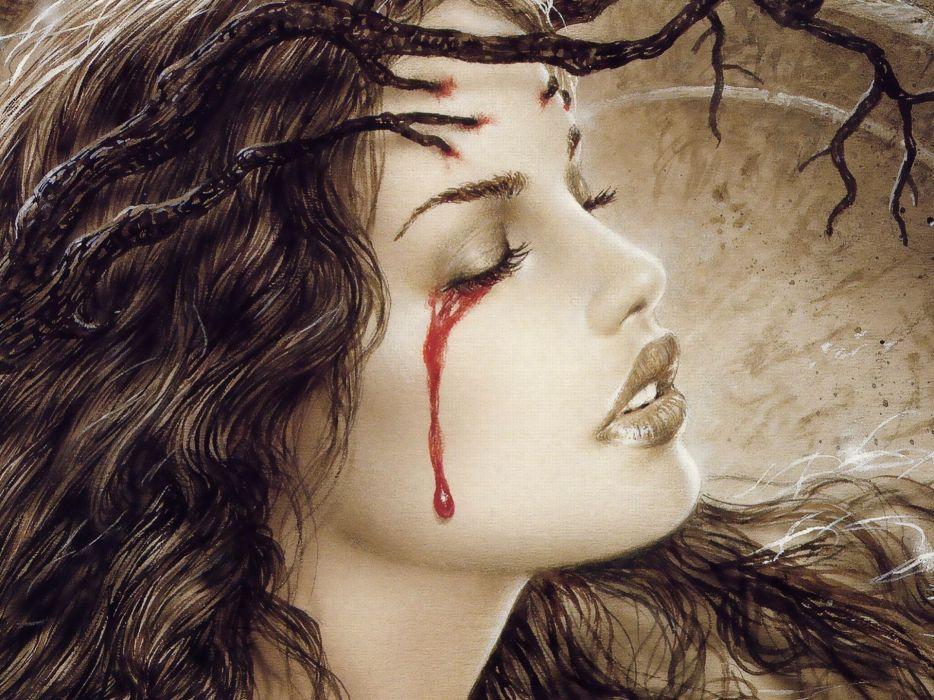 fantasy women gothic blood dark face brunette wallpaper