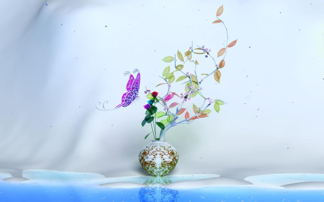 animals butterfly art still life flowers wallpaper