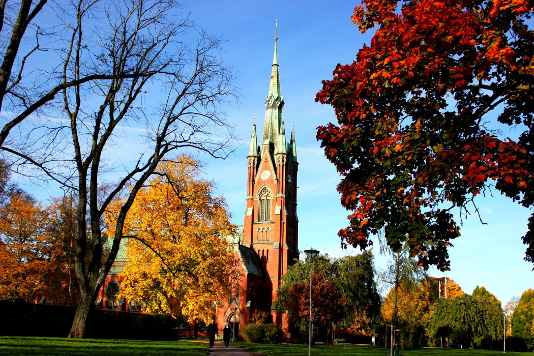 Sweden buildings cathedral church autumn fall wallpaper
