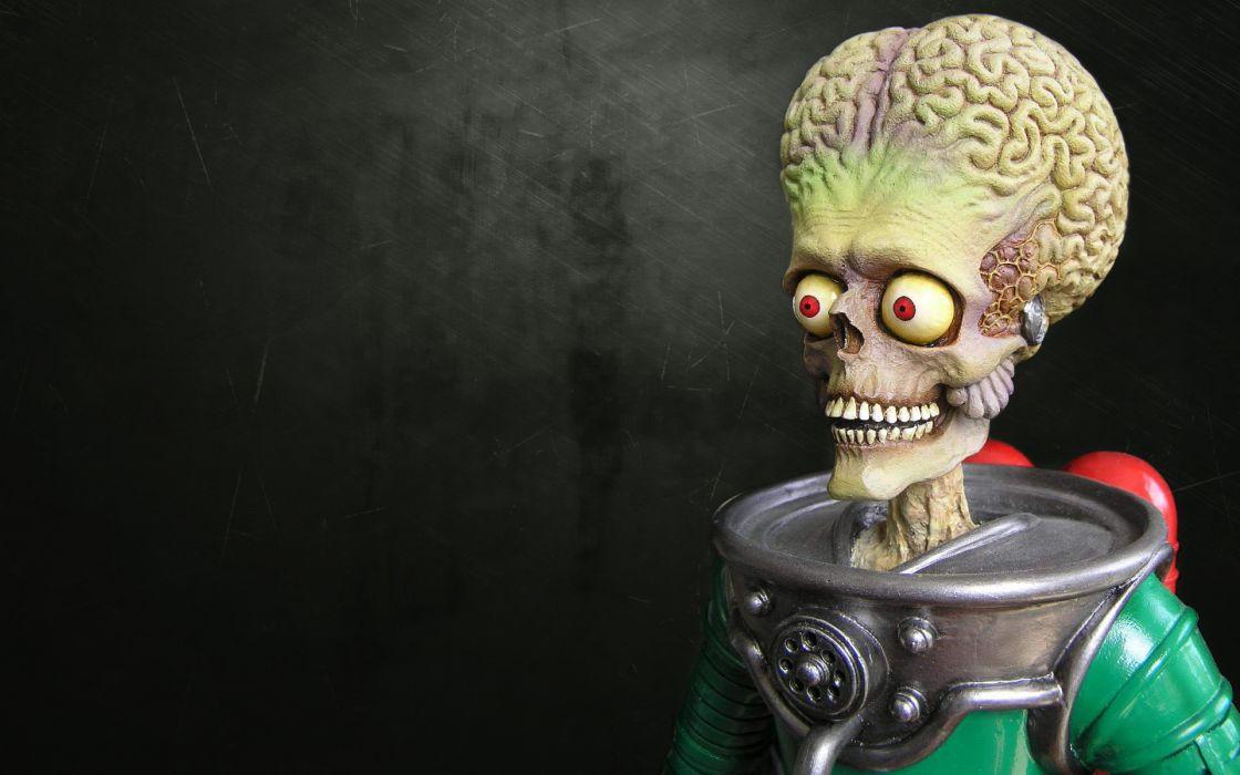 Mars Attacks! sci fi alien creature monster skull eyes dark horror scary creepy spooky astronaut wallpaper