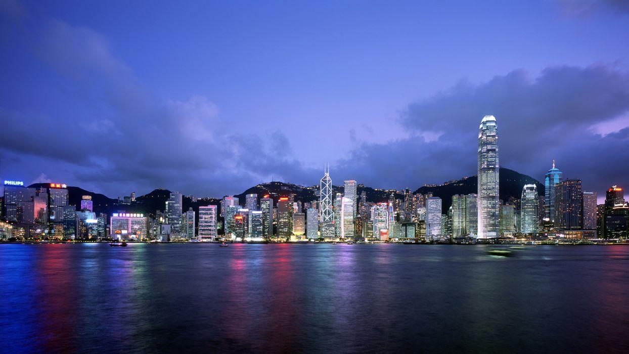 hong kong cityscape skyline architecture buildings light wallpaper