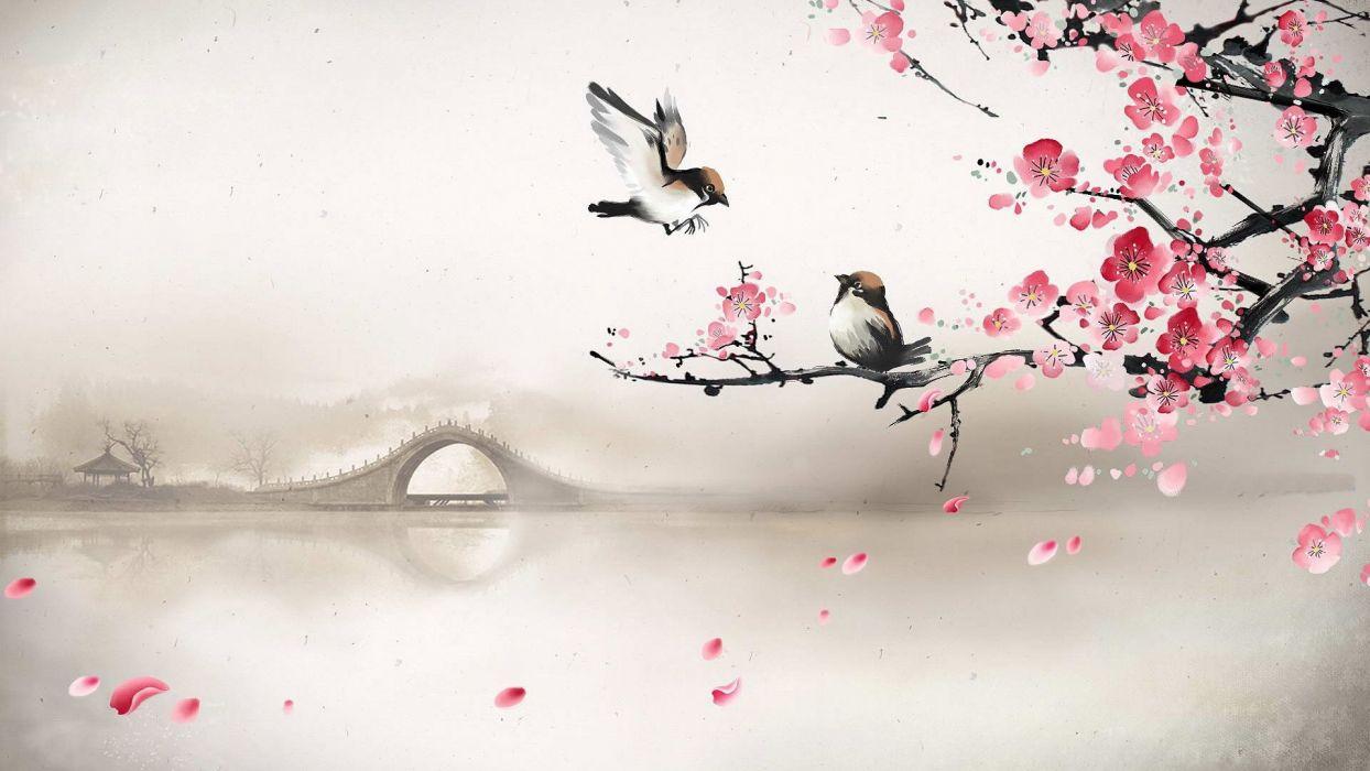 art asian oriental flowers blossom bridges wallpaper