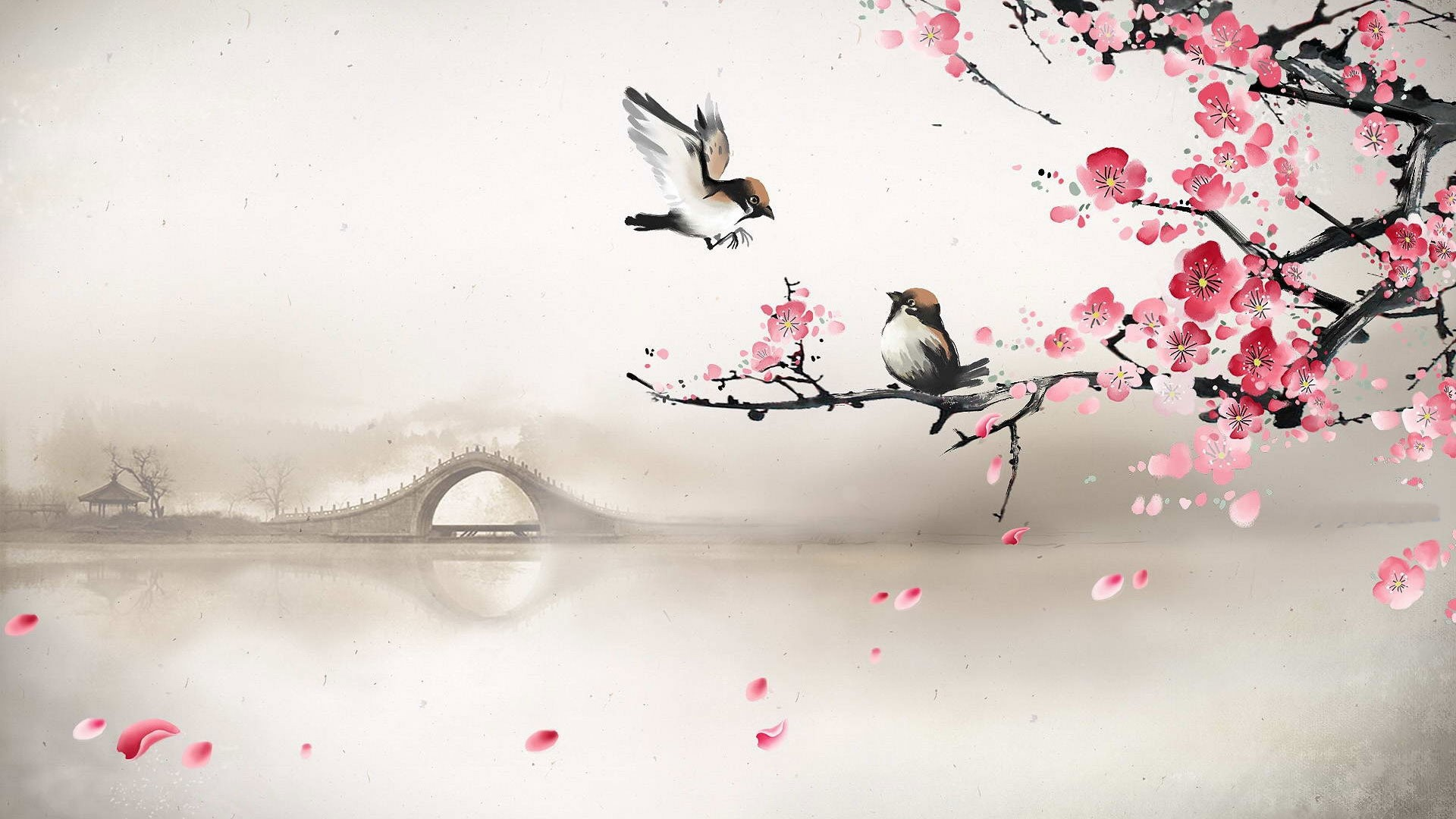art asian oriental flowers blossom bridges wallpaper  x, Beautiful flower