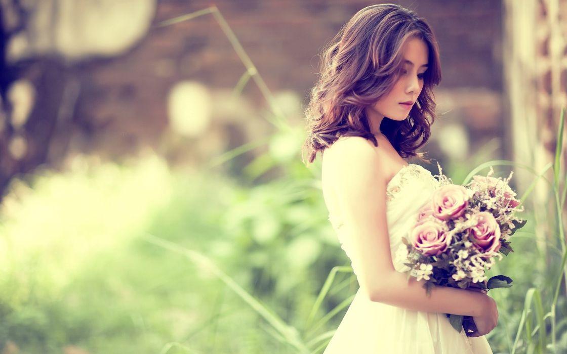 asian oriental women mood flowers bouquet brunette model wallpaper