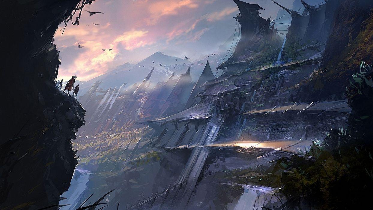 fantasy sci fi cities art games wallpaper