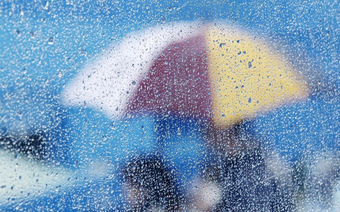 rain storm umbrella bokeh mood wallpaper