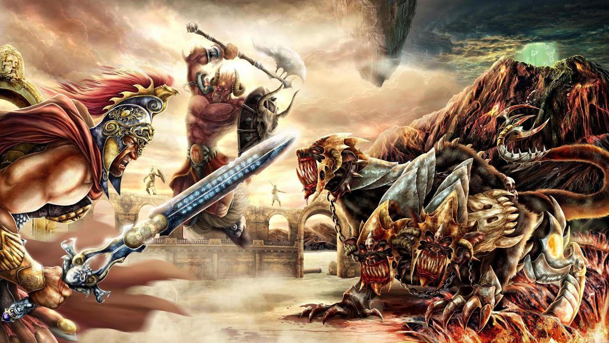 fantasy battle war weapon sword axe hydra monster creature wallpaper