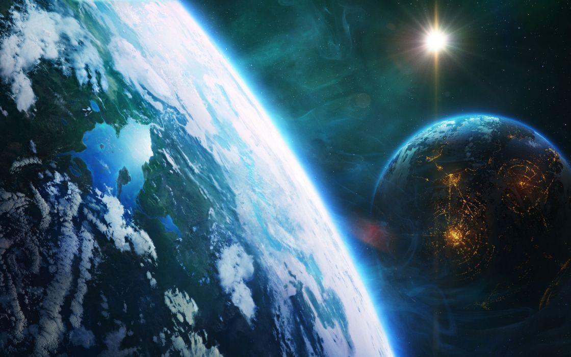 sci fi planets civilization stars sun space wallpaper