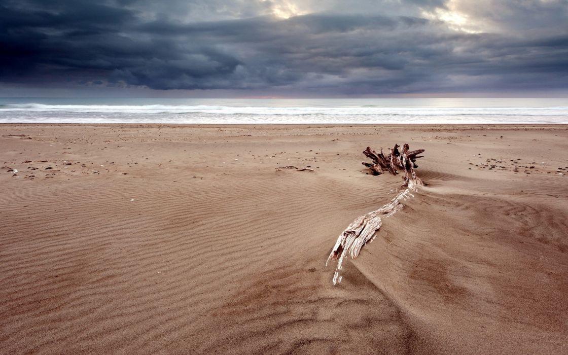 sand ocean sea waves clouds sky wallpaper