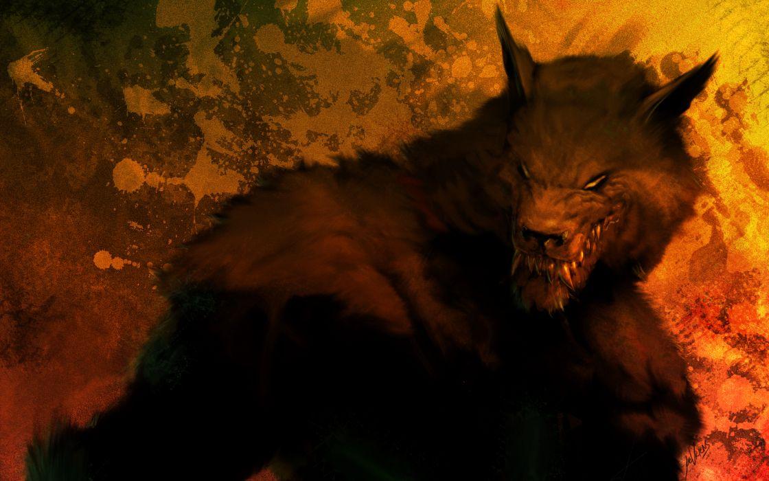 dark horror werewolf lycan monster creature wolf  wallpaper