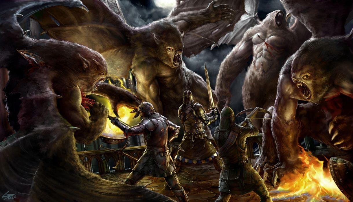 fantasy battle warrior monster creature dark weapons fire wallpaper