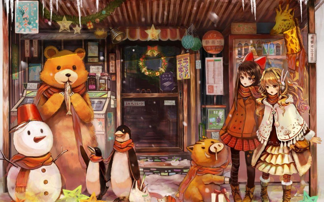 girls art anime new year christmas gifts snowman bear wallpaper