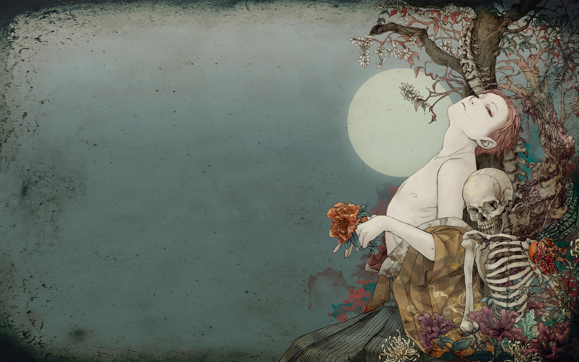 Dead Love Girl Wallpaper : Dark fantasy gothic mood death love romance skeleton skull art gothic wallpaper 1920x1200 ...