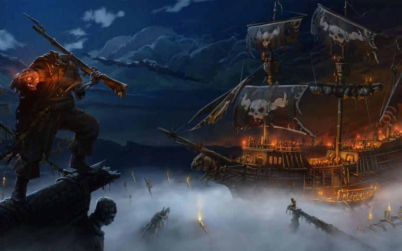 fantasy pirate dark horror skeleton evil scary creepy spooky ship fire demon wallpaper