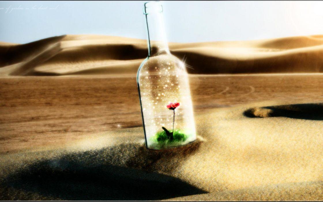 bokeh manipulation cg digital art desert dunes landscapes bottle flowers dream contrast glass mood wallpaper