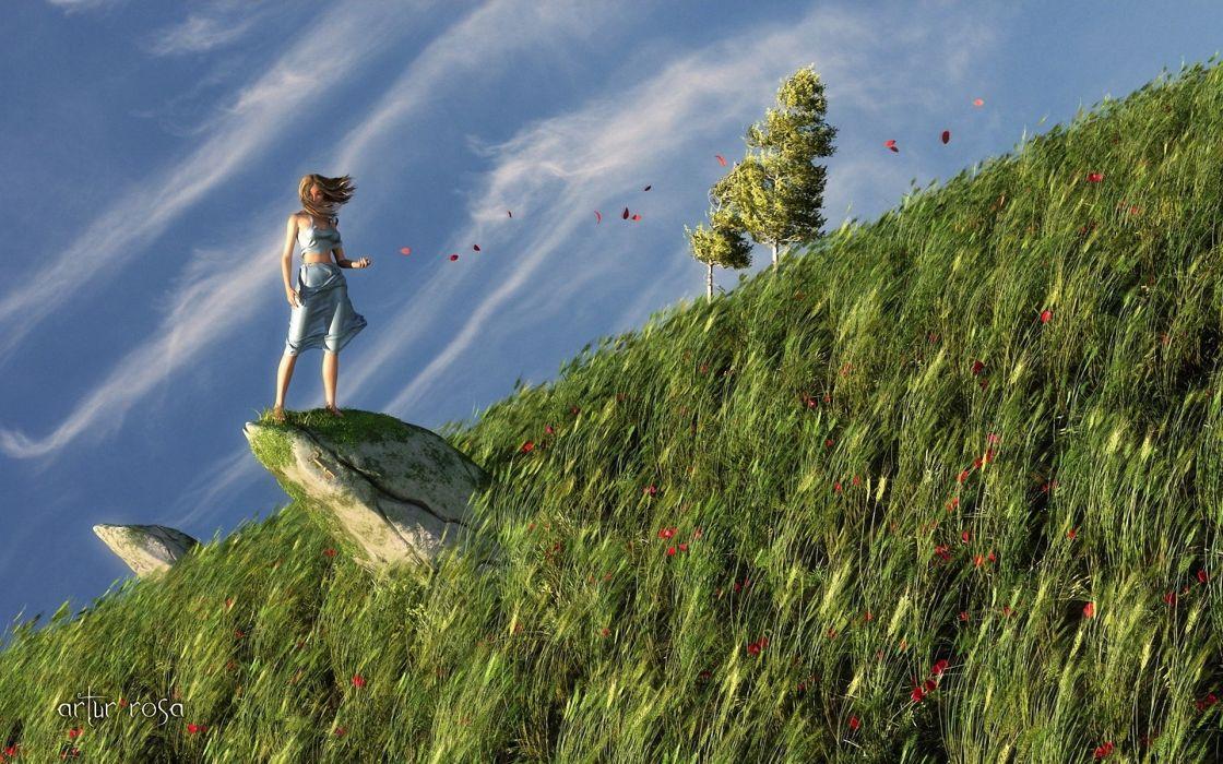 fantasy women girl petals mood art wallpaper