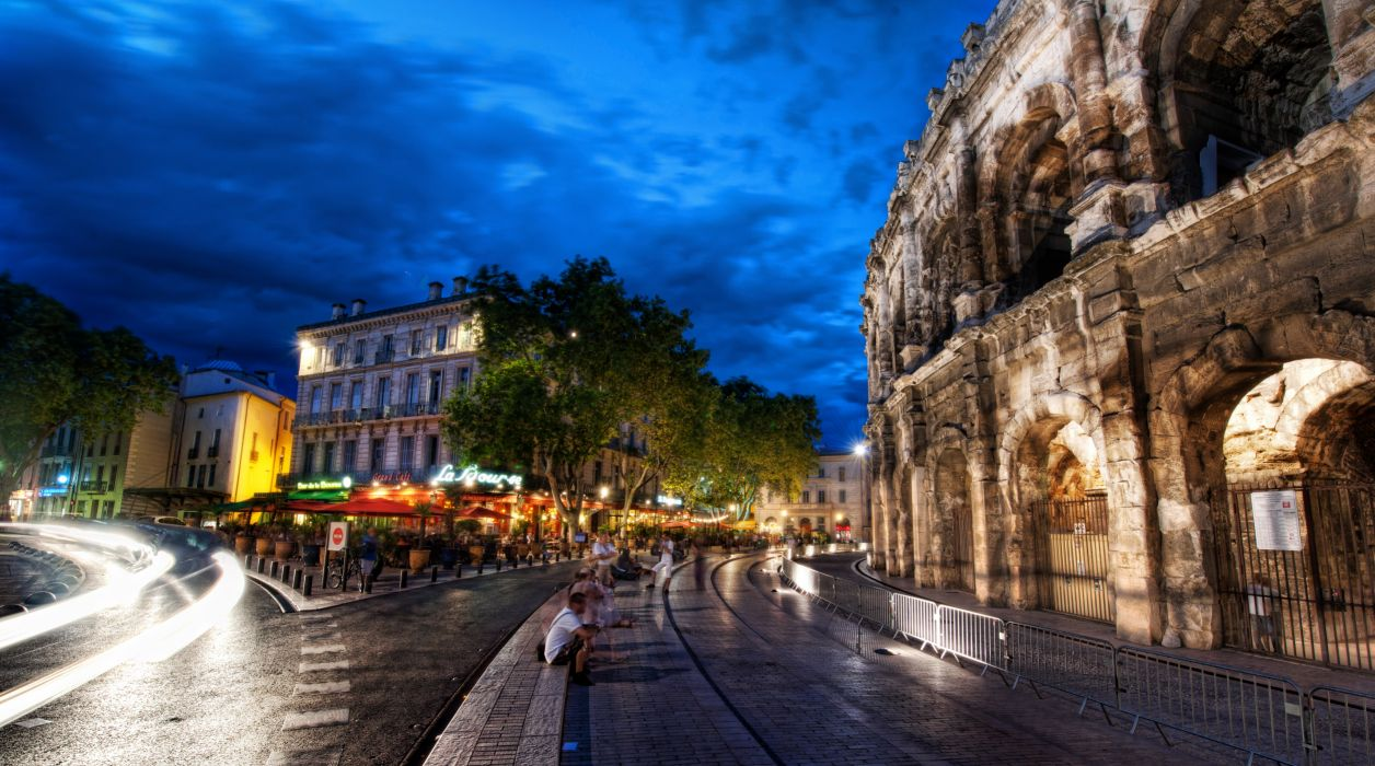 Night City France Roads HDR architecture buildings timelapse people lights rain reflection wet wallpaper