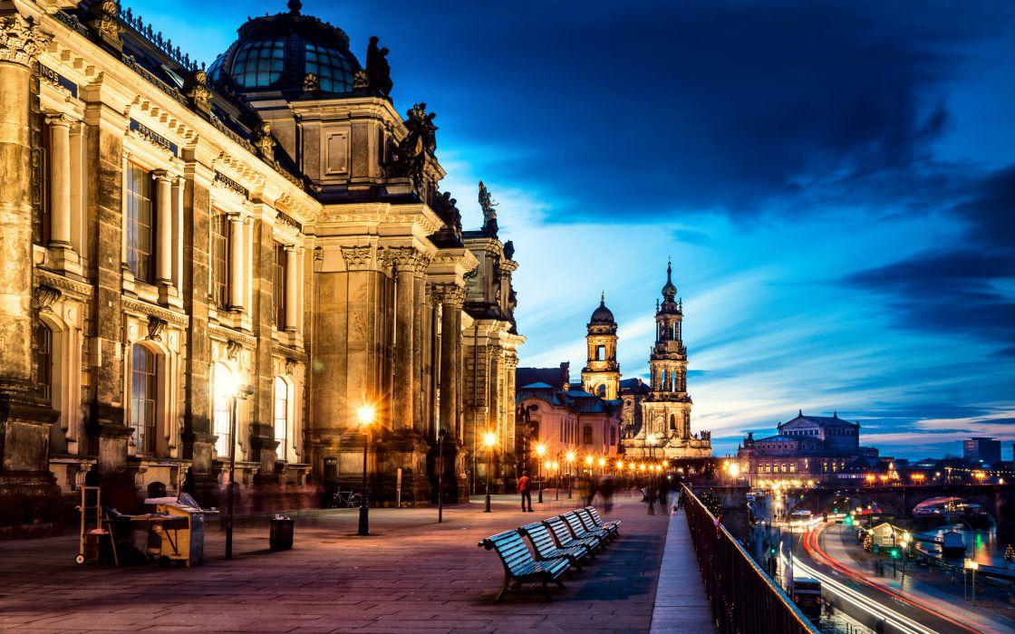 Dresden Germany Altstadt architecture buildings cities hdr lights bench wallpaper