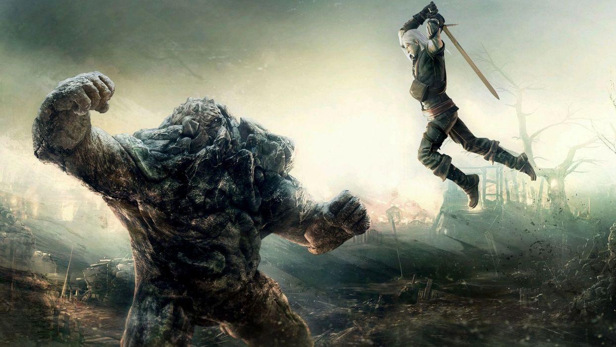 The Witcher fantasy warrior battle weapon sword monster creature dark wallpaper