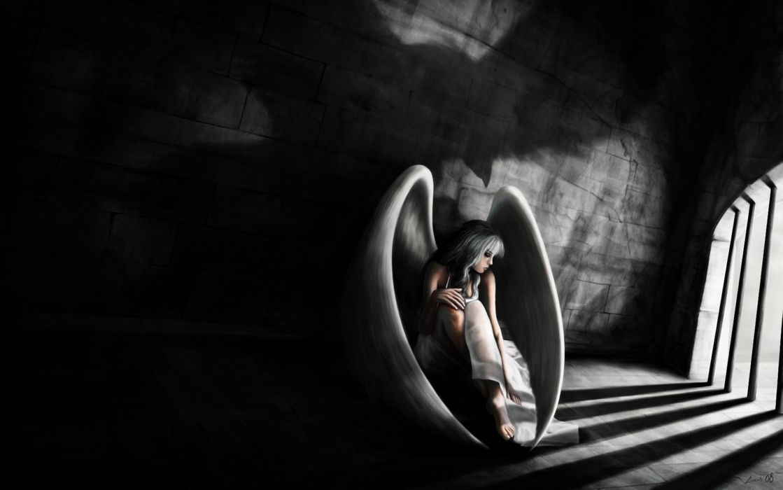 fantasy dark fallen angel mood sad sorrow bondage women girl prison art wallpaper