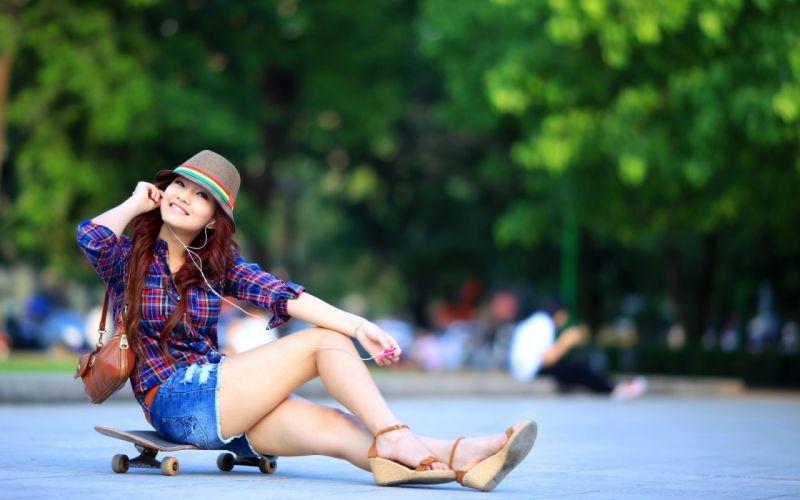 sports skateboard asian oriental women model mood happy babes sexy brunette wallpaper
