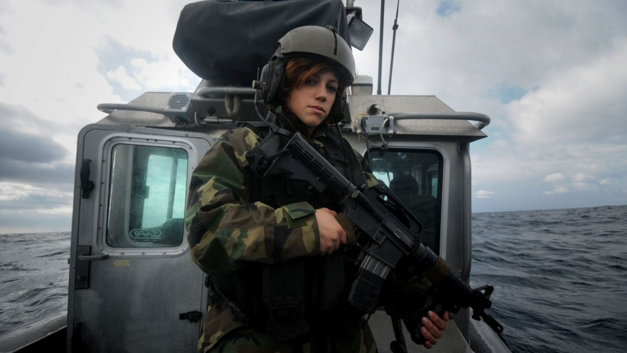 military warrior soldier people weapon guns assault rifle women face uniform redhead vehicles watercraft wallpaper