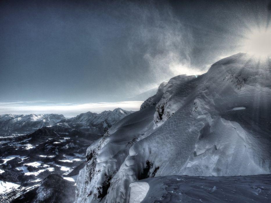 landscapes snow winter sun sunlight beams ray wallpaper
