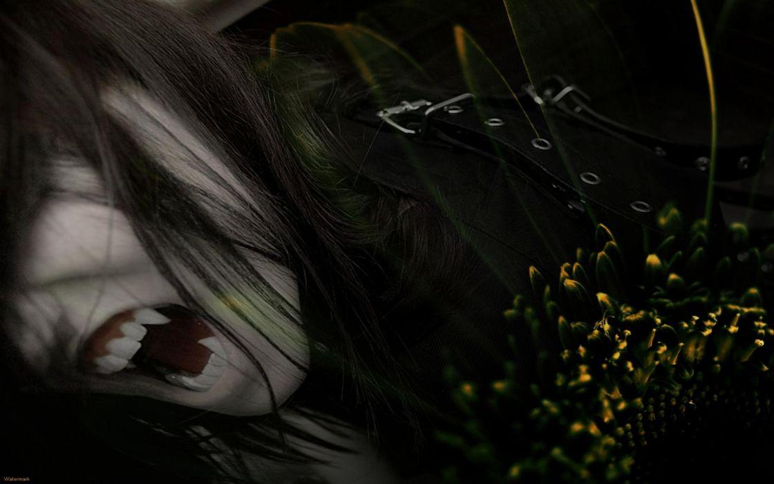 dark fantasy vampire fangs horror scary creepy spooky face wallpaper