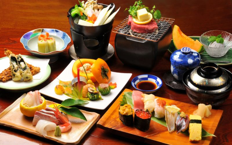 asian oriental sushi fishes wallpaper