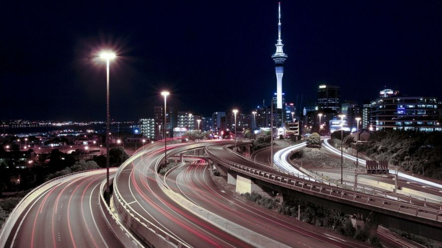 Auckland New Zealand cities architecture freeway roads timelapse night lights buildings tower wallpaper