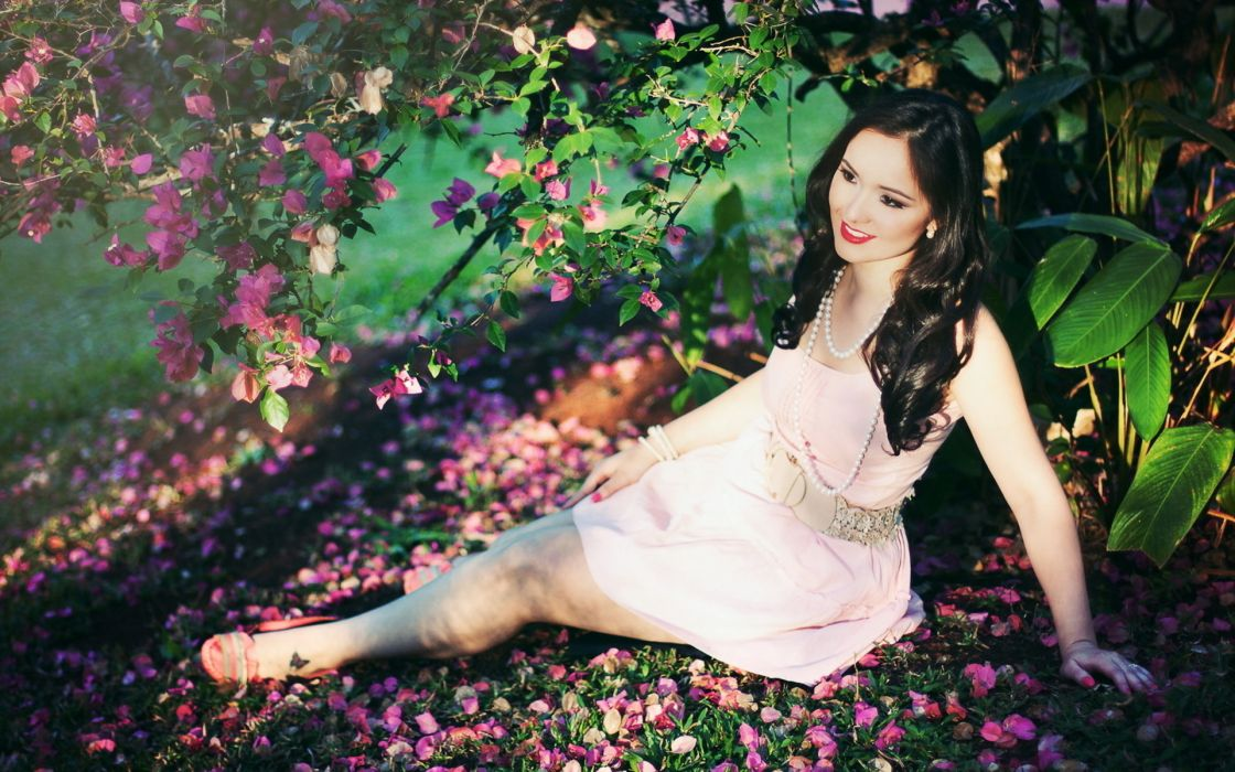 asian oriental women model brunette mood flowers blossoms wallpaper